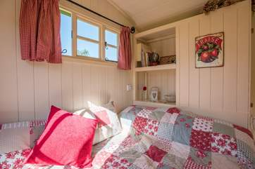 There are plenty of picture windows throughout the hut taking in the lovely countryside views.