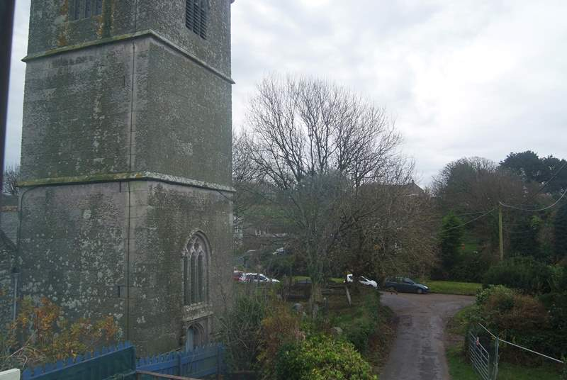 The view of the church from the bedrooms.