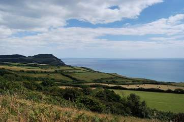 This is a view of Golden Cap, an iconic Dorset landmark, towering above the Jurassic Coast.
