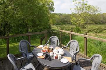 The outside decking-area has wonderful views over the Nature Reserve.