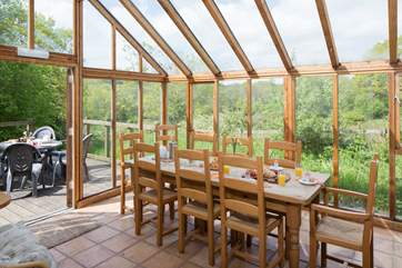 The dining-room is also a garden room, so you can enjoy your meals with the most wonderful views.