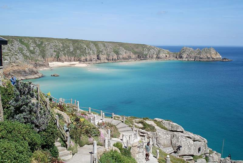 Porthcurno is well worth a visit and is just 10 miles away.