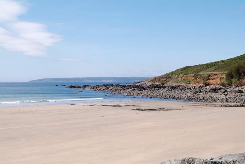 Perranuthnoe beach, seen here at low tide.