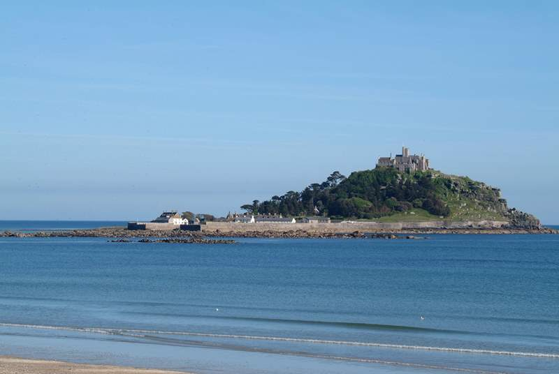 St Michael's Mount is visible across the bay (this is not the view from the property).