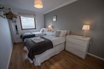 Both first floor twin bedrooms have fabulous sea views.
