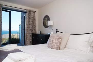 Sea views from the double bedroom.