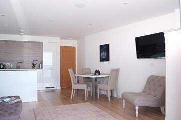 The contemporary open plan living area.