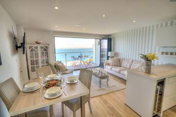 The apartment is open plan with gorgeous sea views.