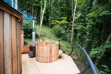 The hot tub also sits on the deck and affords the same fabulous views.