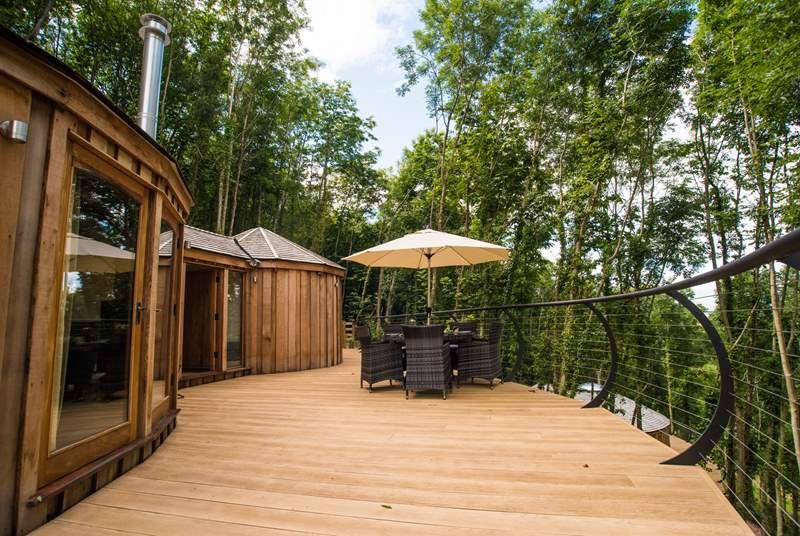 The stunning, cedar clad Pheasant Yurt.