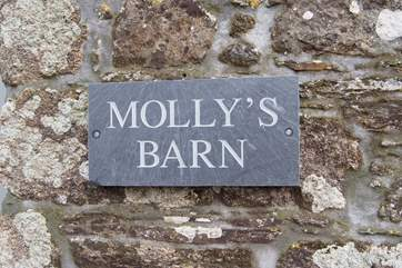 The name sign on the front of this lovely barn.
