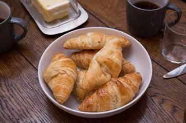 Hot croissants for breakfast.