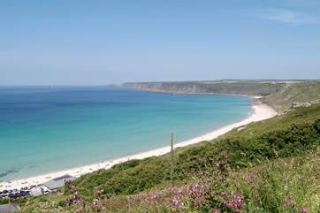 Sennen cove is perfect for surfing.