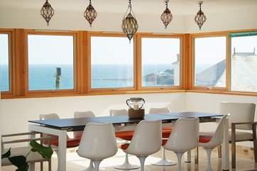 The dining-area has wrap-around views.