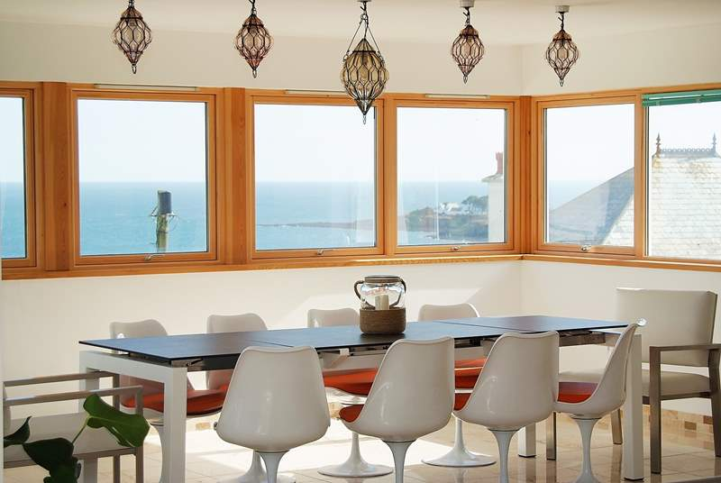 The dining-area has wrap-around views.