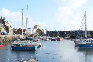 Mevagissey harbour is a five minute walk downhill (steep, so a 20 minute walk on the way back!)