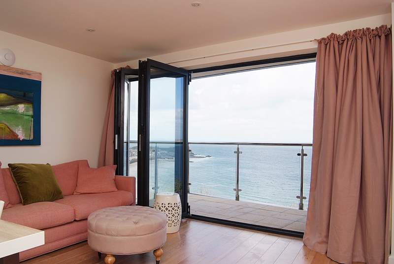 Sea views and a lovely balcony.