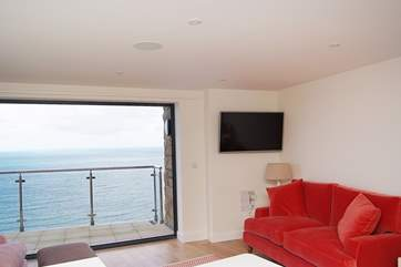 Sea views and comfortable furnishings.