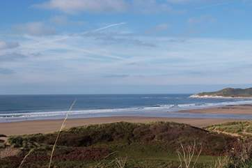 One of north Devon's stunning sandy beaches – this is Woolacombe just the other side of Ilfracombe from Combe Martin.