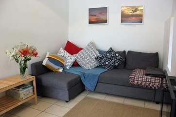 Snuggle up on the sofa.
