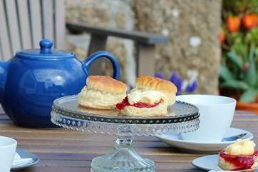 What a welcome! A cream tea on arrival - don't forget to put the jam on first!