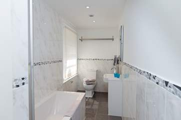 This is the bathroom with the shower over the bath.