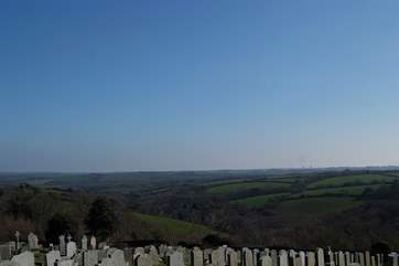 The fabulous view from the churchyard across the  surrounding countryside.