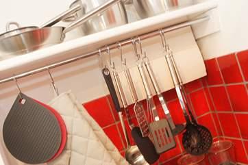 Plenty of kitchen equipment is supplied.