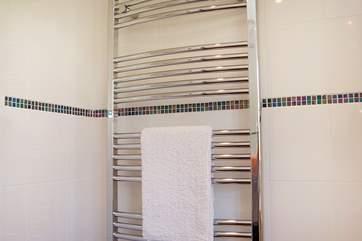 A big heated towel rail will keep towels toasty warm.