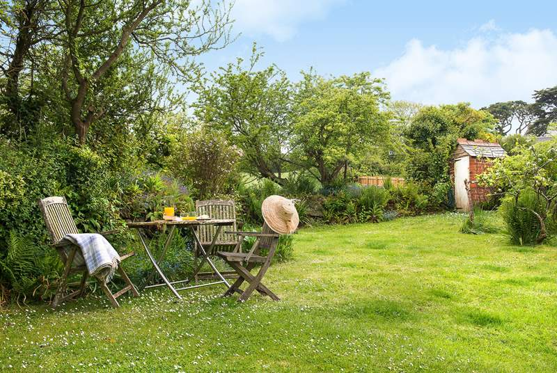 The gorgeous fully enclosed cottage garden.