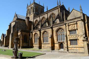Sherborne Abbey is a grand Norman style church with a few remaining Saxon features.