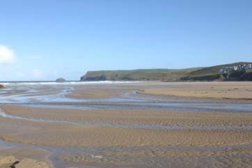 The stunning beach at Polzeath on the north coast is a surfers' paradise.