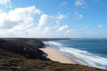 The north coast clifftop paths and surfing beaches are just five miles away.