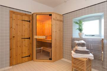 The sauna is on the ground floor in the corner of the shower-room. Perfect for easing muscles after walking in the Mendip Hills above Wells