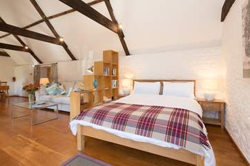 The bed is at the far end of the open plan living space, with clever use of the bookshelf to make it feel  tucked away.