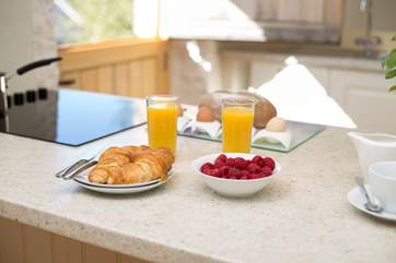 Start the day with a treat for breakfast. The whole purpose of this bolt-hole is for guests to relax and feel at home.