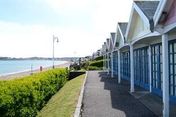 Traditional beach huts at Greenhill in Weymouth