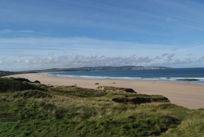 The views from Gwithian Towans across to St Ives in the distance.