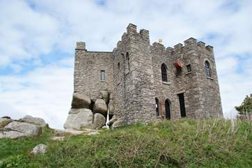 The castle at Carn Brea is a restaurant in the evenings with spectacular views.