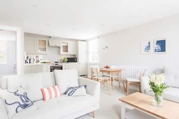 The open plan living-room is light and spacious and  relaxing after a day out exploring this wonderful unspoilt area of Cornwall.