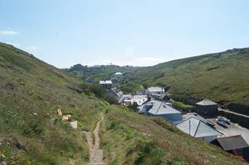 The view of the apartments as you come back down the coast path from the hotel (third roof from the right).