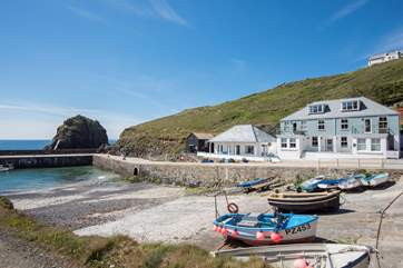 The Mullion Cove Hotel sits up above the apartment, take the coast path and you could be sat in the bar in just over five minutes.