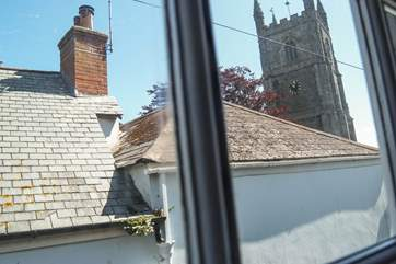 You can see the church spire from the bedroom.