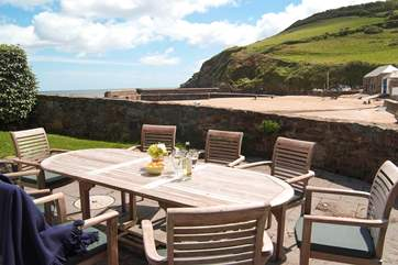 The dining-terrace has superb views.