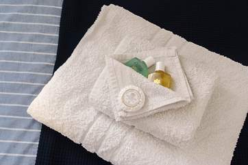 Fluffy towels and toiletries are provided!