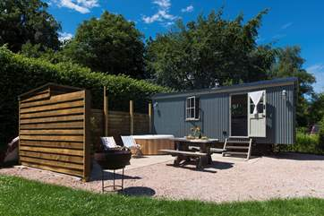 Your own private hot tub, fire-pit and beautifully equipped Shepherd's Hut awaits.