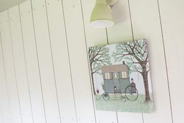 Sweet little touches make this a most beautiful shepherd's hut.