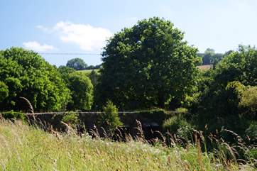 Looking over the river bank which runs alongside the cottage garden to the old stone bridge spanning the water.