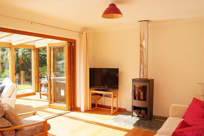 There is such a lot of light and space in this lovely property and the wood-burner certainly throws out the heat for chillier evenings.