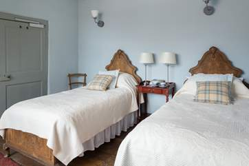This is the twin room on the first floor, with its lovely antique wooden beds.